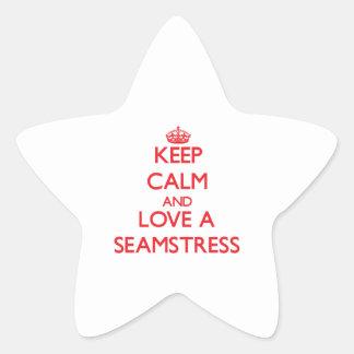 Mantenha a calma e ame uma costureira adesivo estrela