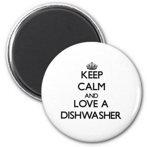Mantenha a calma e ame uma máquina de lavar louça imãs