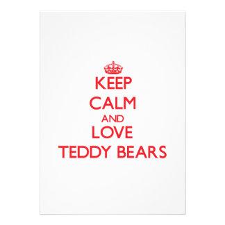 Mantenha a calma e ame ursos de ursinho convite personalizados