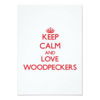 Mantenha a calma e ame Woodpeckers Convite Personalizados