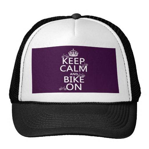 Mantenha a calma e Bike em (a cor customizável) Bone