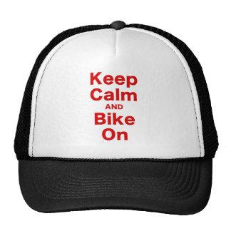 Mantenha a calma e Bike sobre Bonés