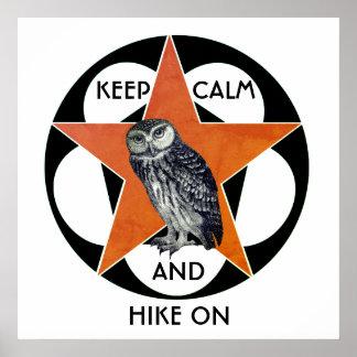 Mantenha a calma e caminhe no poster da coruja