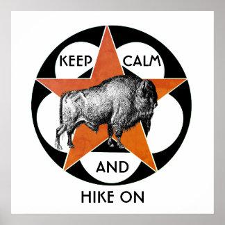 Mantenha a calma e caminhe no poster do búfalo