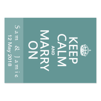 Mantenha a calma e case-a sobre cartão de visita grande