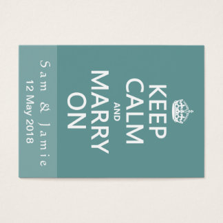 Mantenha a calma e case-a sobre cartão de visitas