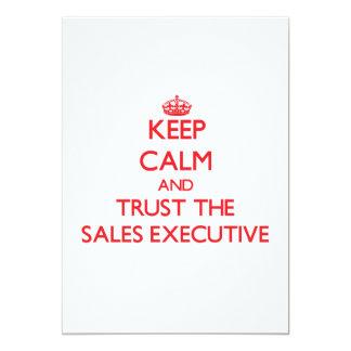 Mantenha a calma e confie o executivo de vendas convites
