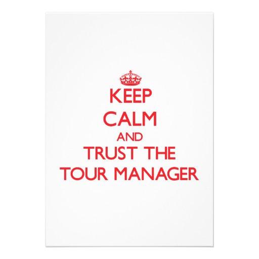 Mantenha a calma e confie o gerente da excursão convite personalizados