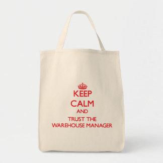 Mantenha a calma e confie o gerente do armazém bolsas para compras