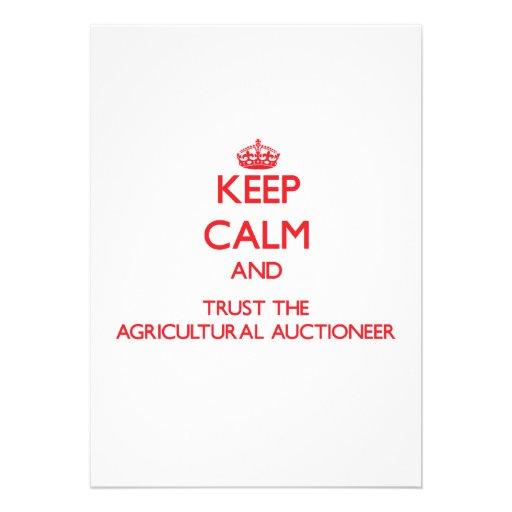 Mantenha a calma e confie o leiloeiro agrícola convites personalizados