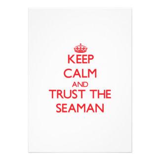 Mantenha a calma e confie o marinheiro convite personalizado