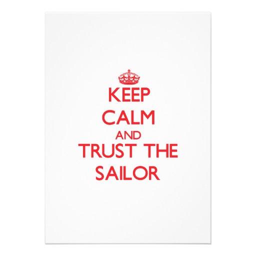 Mantenha a calma e confie o marinheiro convites personalizado