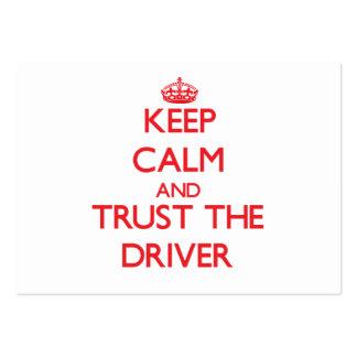 Mantenha a calma e confie o motorista modelos cartão de visita