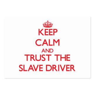 Mantenha a calma e confie o motorista de escravo modelos cartão de visita