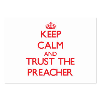 Mantenha a calma e confie o pregador cartões de visitas