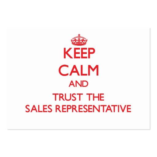 Mantenha a calma e confie o representante de venda modelos cartões de visita