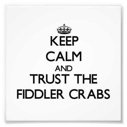 Mantenha a calma e confie os caranguejos de violin fotografias