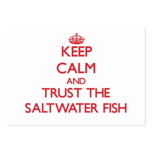 Mantenha a calma e confie os peixes de água salgad cartoes de visita