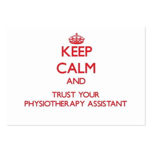 Mantenha a calma e confie seu assistente de Physio Cartoes De Visita