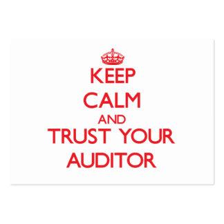 Mantenha a calma e confie seu auditor cartoes de visita