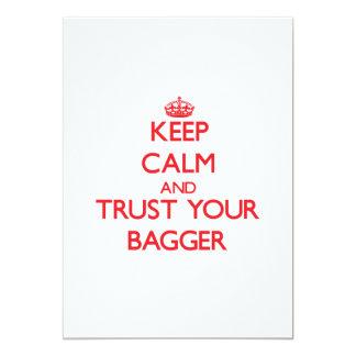 Mantenha a calma e confie seu Bagger Convite Personalizados
