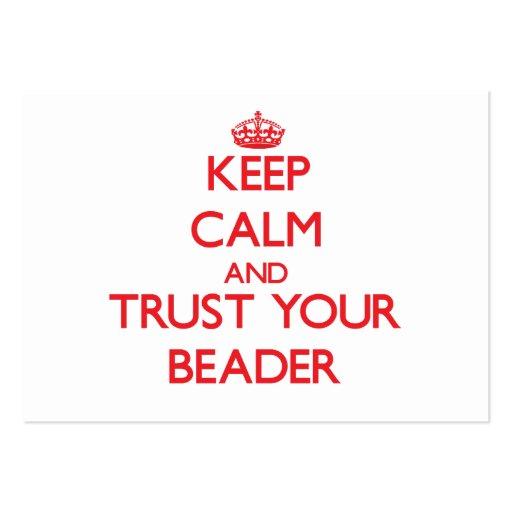 Mantenha a calma e confie seu Beader Modelo Cartão De Visita