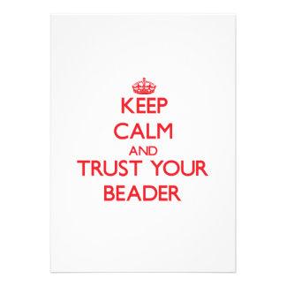 Mantenha a calma e confie seu Beader Convite