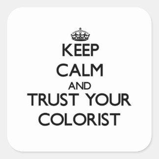 Mantenha a calma e confie seu Colorist Adesivo Quadrado