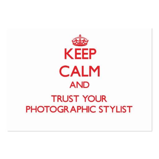 Mantenha a calma e confie seu estilista fotográfic cartões de visita