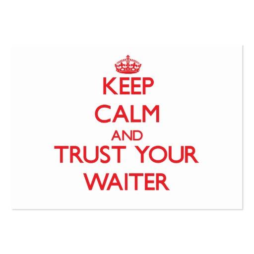 Mantenha a calma e confie seu garçom cartoes de visita