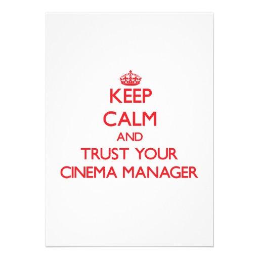 Mantenha a calma e confie seu gerente do cinema convites