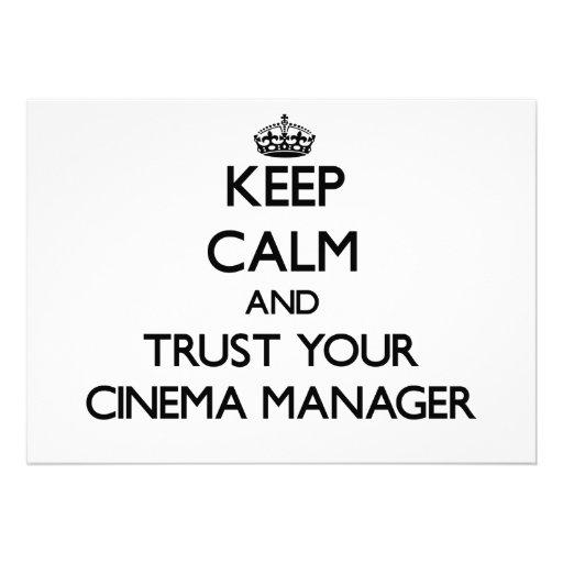 Mantenha a calma e confie seu gerente do cinema convites personalizado