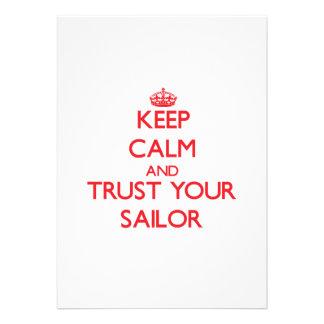 Mantenha a calma e confie seu marinheiro convites personalizado