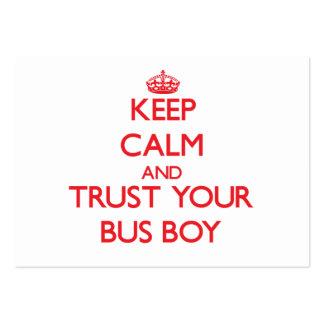 Mantenha a calma e confie seu menino de ônibus cartão de visita