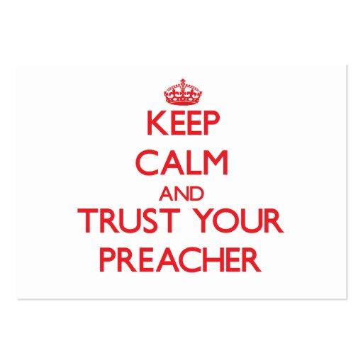 Mantenha a calma e confie seu pregador modelos cartoes de visitas