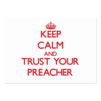 Mantenha a calma e confie seu pregador cartão de visita grande
