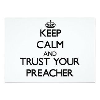 Mantenha a calma e confie seu pregador convite