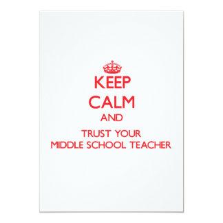 Mantenha a calma e confie seu professor de escola convite