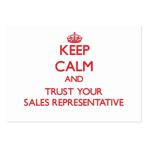 Mantenha a calma e confie seu representante de ven modelo cartoes de visitas