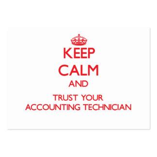 Mantenha a calma e confie seu técnico da contabili modelo cartoes de visitas
