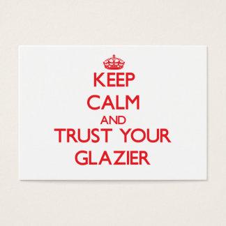 Mantenha a calma e confie seu vidraceiro cartão de visitas