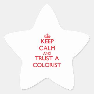 Mantenha a calma e confie um Colorist Adesivo Em Forma De Estrela