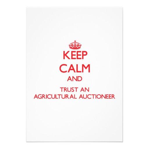 Mantenha a calma e confie um leiloeiro agrícola convite personalizado