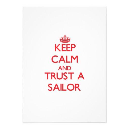 Mantenha a calma e confie um marinheiro convites