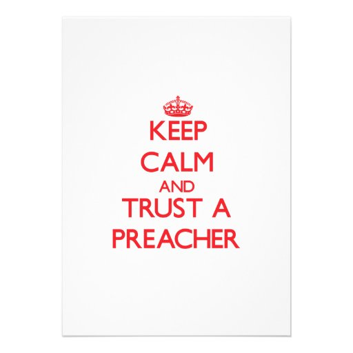 Mantenha a calma e confie um pregador convites personalizado