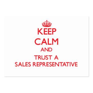 Mantenha a calma e confie um representante de vend cartao de visita