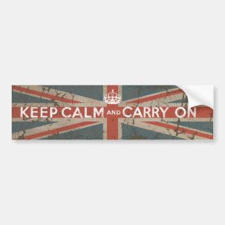 Mantenha a calma e continue com bandeira BRITÂNICA Adesivos