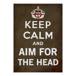 Mantenha a calma e continue e aponte-a para o zomb pôster