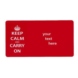 Mantenha a calma e continue etiqueta de frete
