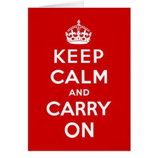 Mantenha a calma e continue o aniversário vermelho cartão comemorativo